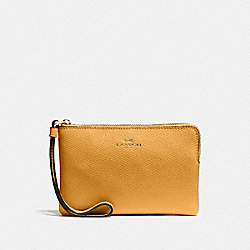 COACH F58032 Corner Zip Wristlet MUSTARD YELLOW/GOLD