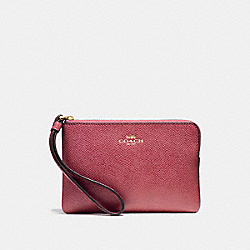 COACH F58032 Corner Zip Wristlet LIGHT GOLD/ROUGE