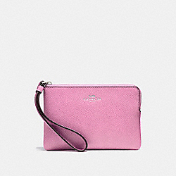 COACH F58032 Corner Zip Wristlet BLACK ANTIQUE NICKEL/NEON PINK