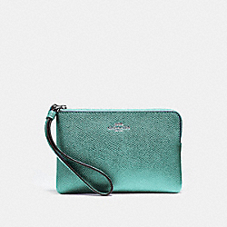 COACH F58032 Corner Zip Wristlet BLUE GREEN/BLACK ANTIQUE NICKEL