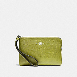 COACH F58032 Corner Zip Wristlet CHARTEUSE/BLACK ANTIQUE NICKEL