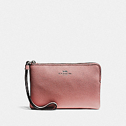 COACH F58032 Corner Zip Wristlet QB/METALLIC DARK BLUSH
