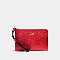 COACH F58032 Corner Zip Wristlet BLACK ANTIQUE NICKEL/POPPY