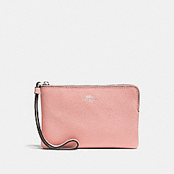COACH F58032 Corner Zip Wristlet In Crossgrain Leather SILVER/BLUSH