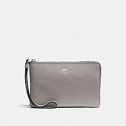 COACH F58032 Corner Zip Wristlet GREY BIRCH/SILVER