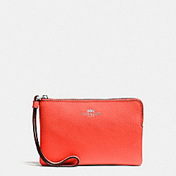 COACH F58032 Corner Zip Wristlet In Crossgrain Leather SILVER/BRIGHT ORANGE