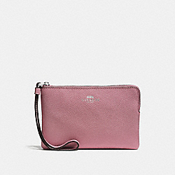 COACH F58032 Corner Zip Wristlet SILVER/DUSTY ROSE