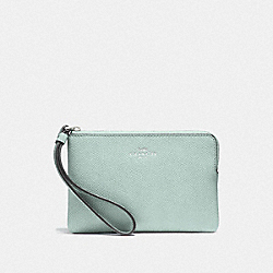 COACH F58032 Corner Zip Wristlet SILVER/SEA GREEN