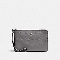 COACH F58032 - CORNER ZIP WRISTLET HEATHER GREY/SILVER