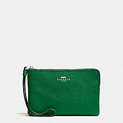 COACH F58032 Corner Zip Wristlet In Crossgrain Leather SILVER/JADE