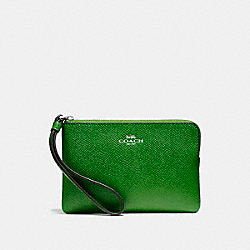 COACH F58032 Corner Zip Wristlet SILVER/KELLY GREEN