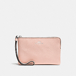 COACH F58032 Corner Zip Wristlet SILVER/LIGHT PINK