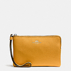COACH F58032 Corner Zip Wristlet In Crossgrain Leather SILVER/MUSTARD