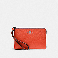 COACH F58032 Corner Zip Wristlet ORANGE RED/SILVER