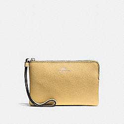 COACH F58032 Corner Zip Wristlet LIGHT YELLOW/SILVER