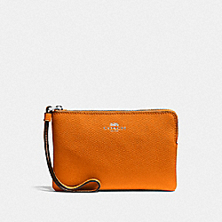 COACH F58032 Corner Zip Wristlet DARK ORANGE/SILVER