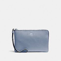 COACH F58032 Corner Zip Wristlet STEEL BLUE