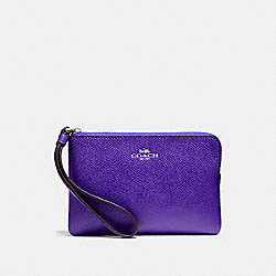 COACH F58032 - CORNER ZIP WRISTLET IN CROSSGRAIN LEATHER SILVER/PURPLE