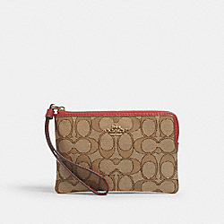 COACH F58033 Corner Zip Wristlet In Signature Canvas IM/KHAKI/TRUE RED