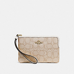 CORNER ZIP WRISTLET IN SIGNATURE CANVAS - F58033 - LIGHT KHAKI/CHALK/LIGHT GOLD