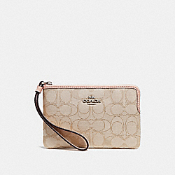 COACH F58033 Corner Zip Wristlet LIGHT KHAKI/LIGHT PINK/SILVER