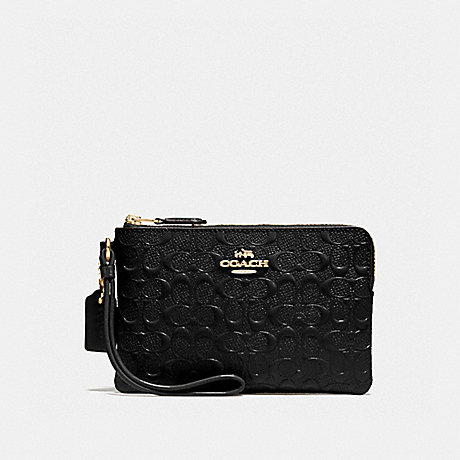 51688ee0f05a3 COACH f58034 CORNER ZIP WRISTLET IN SIGNATURE DEBOSSED PATENT LEATHER  IMITATION GOLD BLACK