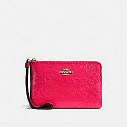 COACH F58034 Corner Zip Wristlet In Signature Debossed Patent Leather IMITATION GOLD/BRIGHT PINK