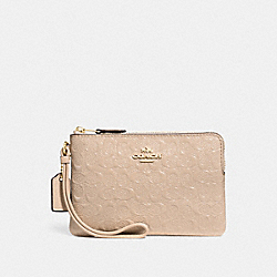 COACH F58034 Corner Zip Wristlet In Signature Debossed Patent Leather IMITATION GOLD/PLATINUM