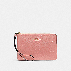 COACH F58034 Corner Zip Wristlet In Signature Leather MELON/LIGHT GOLD