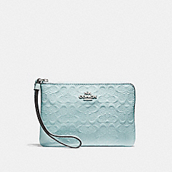 COACH F58034 Corner Zip Wristlet In Signature Debossed Patent Leather SILVER/AQUA