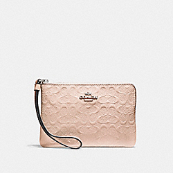 COACH F58034 Corner Zip Wristlet SILVER/LIGHT PINK