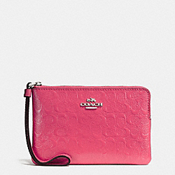 COACH F58034 Corner Zip Wristlet In Signature Debossed Patent Leather SILVER/STRAWBERRY
