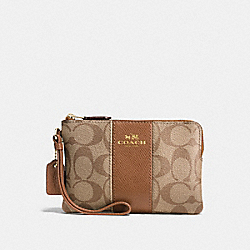 COACH F58035 Corner Zip Wristlet In Signature Coated Canvas With Leather Stripe IMITATION GOLD/KHAKI/SADDLE