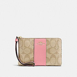 COACH F58035 Corner Zip Wristlet In Signature Canvas LIGHT KHAKI/PEONY/LIGHT GOLD