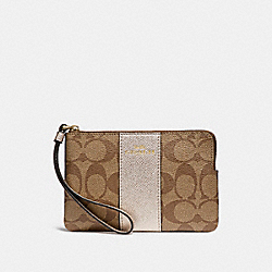 COACH F58035 Corner Zip Wristlet In Signature Canvas LIGHT GOLD/KHAKI