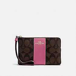 COACH F58035 Corner Zip Wristlet LIGHT GOLD/BROWN ROUGE