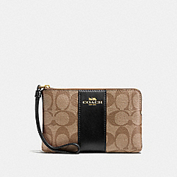 COACH F58035 Corner Zip Wristlet In Signature Canvas KHAKI/BLACK/IMITATION GOLD