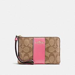 COACH F58035 Corner Zip Wristlet In Signature Canvas KHAKI/PINK RUBY/GOLD