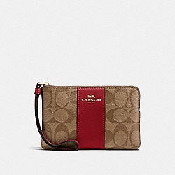 COACH F58035 Corner Zip Wristlet In Signature Canvas KHAKI/CHERRY/LIGHT GOLD