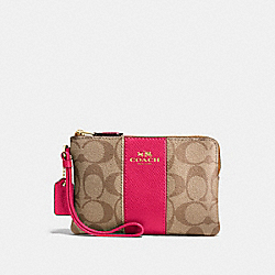 COACH F58035 Corner Zip Wristlet In Signature Coated Canvas With Leather Stripe IMITATION GOLD/KHAKI/BRIGHT PINK