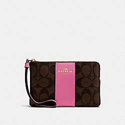 COACH F58035 Corner Zip Wristlet In Signature Canvas BROWN /PINK/LIGHT GOLD