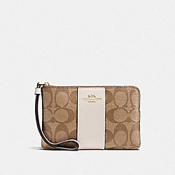 COACH F58035 Corner Zip Wristlet In Signature Canvas KHAKI/CHALK/GOLD