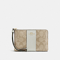 COACH F58035 Corner Zip Wristlet In Signature Canvas LIGHT KHAKI/CHALK/IMITATION GOLD