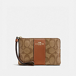 COACH F58035 Corner Zip Wristlet LIGHT GOLD/KHAKI
