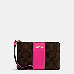 COACH F58035 Corner Zip Wristlet In Signature Coated Canvas With Leather Stripe IMITATION GOLD/BROWN