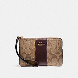 COACH F58035 Corner Zip Wristlet In Signature Coated Canvas With Leather Stripe LIGHT GOLD/KHAKI