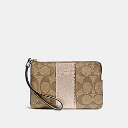 COACH F58035 Corner Zip Wristlet In Signature Canvas KHAKI/ROSE GOLD/LIGHT GOLD