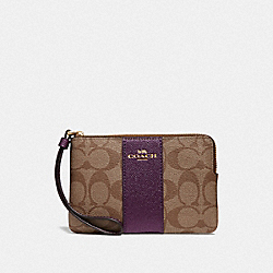 COACH F58035 Corner Zip Wristlet In Signature Canvas KHAKI/METALLIC RASPBERRY/LIGHT GOLD
