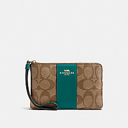 COACH F58035 Corner Zip Wristlet In Signature Canvas KHAKI/DARK TURQUOISE/LIGHT GOLD