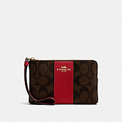 COACH F58035 Corner Zip Wristlet In Signature Canvas BROWN/RUBY/IMITATION GOLD